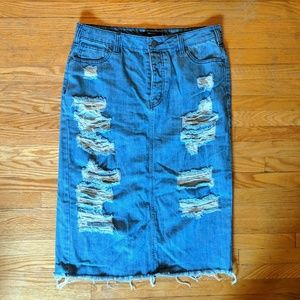 Distressed denim knee length pencil skirt
